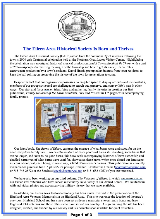 Eileen Wisconsin Historical Society - Introduction