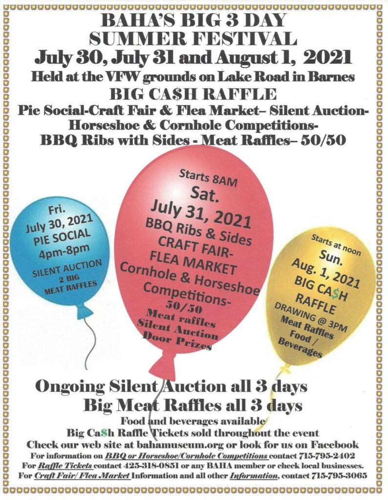 Barnes, Wisconsin - Summer Festival July 30-August 1